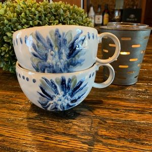 Pair of Anthropology Tea Coffee Cups Mugs 2 Floral